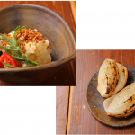 特製本日のポテサラと有機野菜の炭火焼